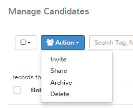 action button for interview invite or hiring manager submittals