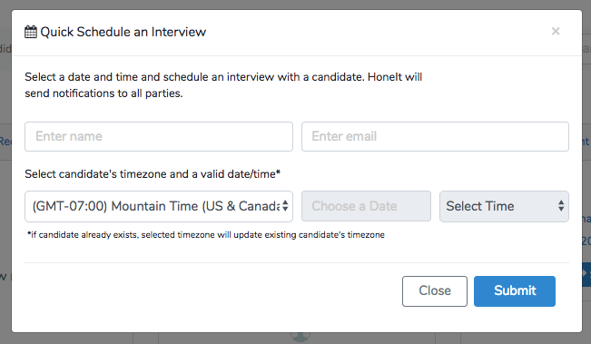 Honeit interview software - quick schedule